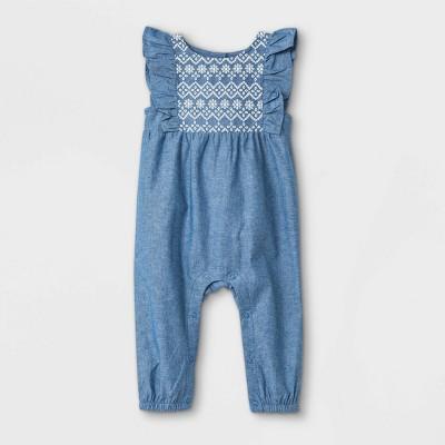 Baby Girls' Chambray Puff Print Romper - Cat & Jack™ Light Blue 6-9M
