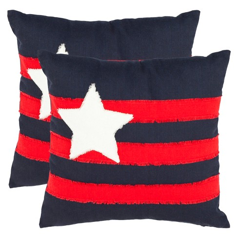Red/Black Star and Stripes Throw Pillow 2 Pack - Safavieh® - image 1 of 2