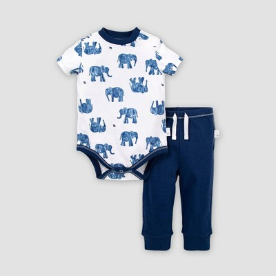 Burt's Bees Baby® Baby Boys' Organic Cotton Wandering Elephants Bodysuit and Pant Set - Blue 0-3M