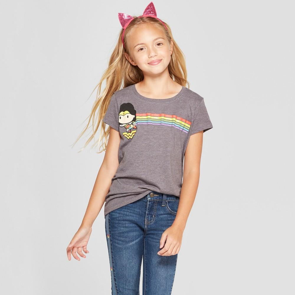 Girls' Wonder Woman Chibi Rainbow Short Sleeve T-Shirt - Charcoal Gray XS