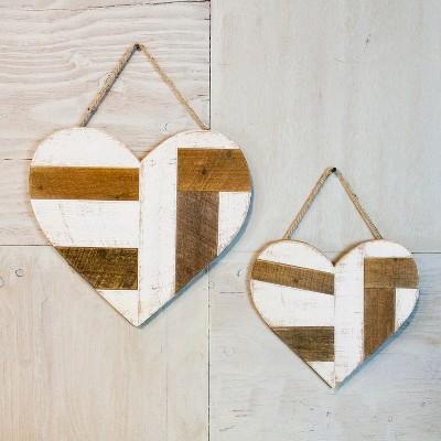 Quilt Pattern Heart Wall Art Brown/White 2pk - VIP Home & Garden
