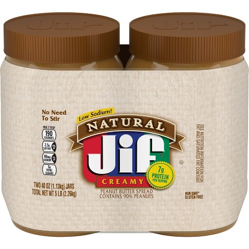 Jif Peanut Butter Twin Pack Natural Creamy - 80oz - image 1 of 1