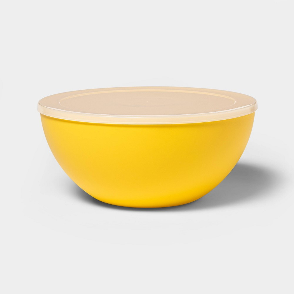 Image of 122oz Plastic Serving Bowl with Lid Yellow - Sun Squad