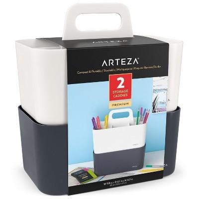 Arteza Multipurpose Divided Storage Organizer Caddy Set, White & Black- 2 Pack
