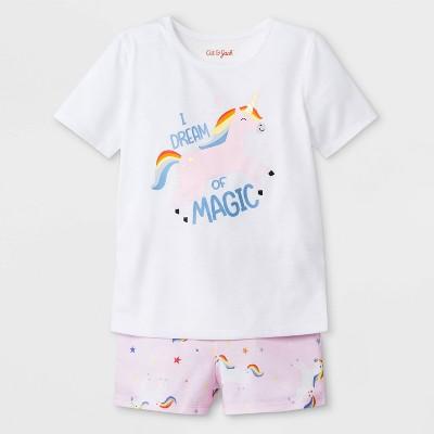Baby Girls' I dream of Magic Jersey with Unicorn Printed Bottom Pajama Set - Cat & Jack™ Fresh White 12M