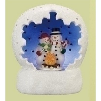 """Roman 4"""" Vibrantly Colored Battery Operated LED Lighted Snowman Couple Scene Table Top Christmas Dome"""