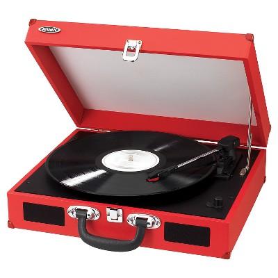 Jensen Portable 3 Speed Stereo Turntable   Red (JTA 410 R)