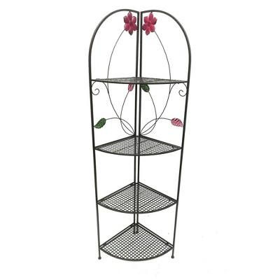 4 Shelf Metal Foldable Corner Rack with Flower Accents Black - Benzara