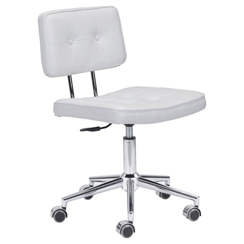 Retro Adjule Armless Office Chair White Zm Home