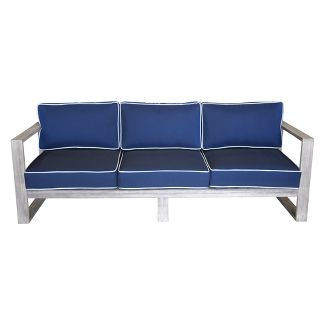 Teak Modern North Shore Outdoor Three Seater Sofa with Cushions - Driftwood Gray - Courtyard Casual