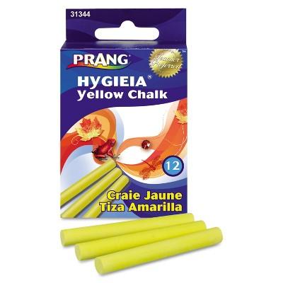 Prang Hygieia Dustless Board Chalk 3 1/4 x 3/8 Yellow 12/Box 31344