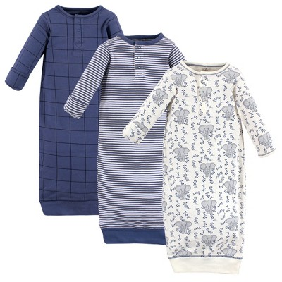 Touched by Nature Baby Boy Organic Cotton Henley Long-Sleeve Gowns 3pk, Elephant
