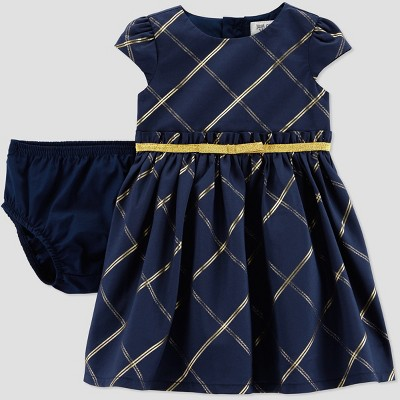 Baby Girls' Gold Check Holiday Dressy Dress - Just One You® made by carter's Navy 6M
