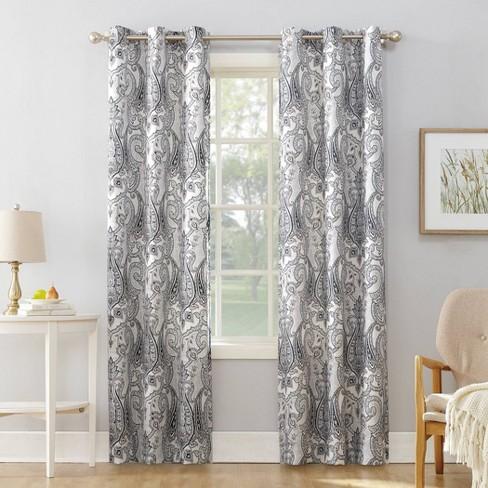 Nori Damask Print Light Filtering Grommet Top Curtain Panel - No. 918 - image 1 of 4