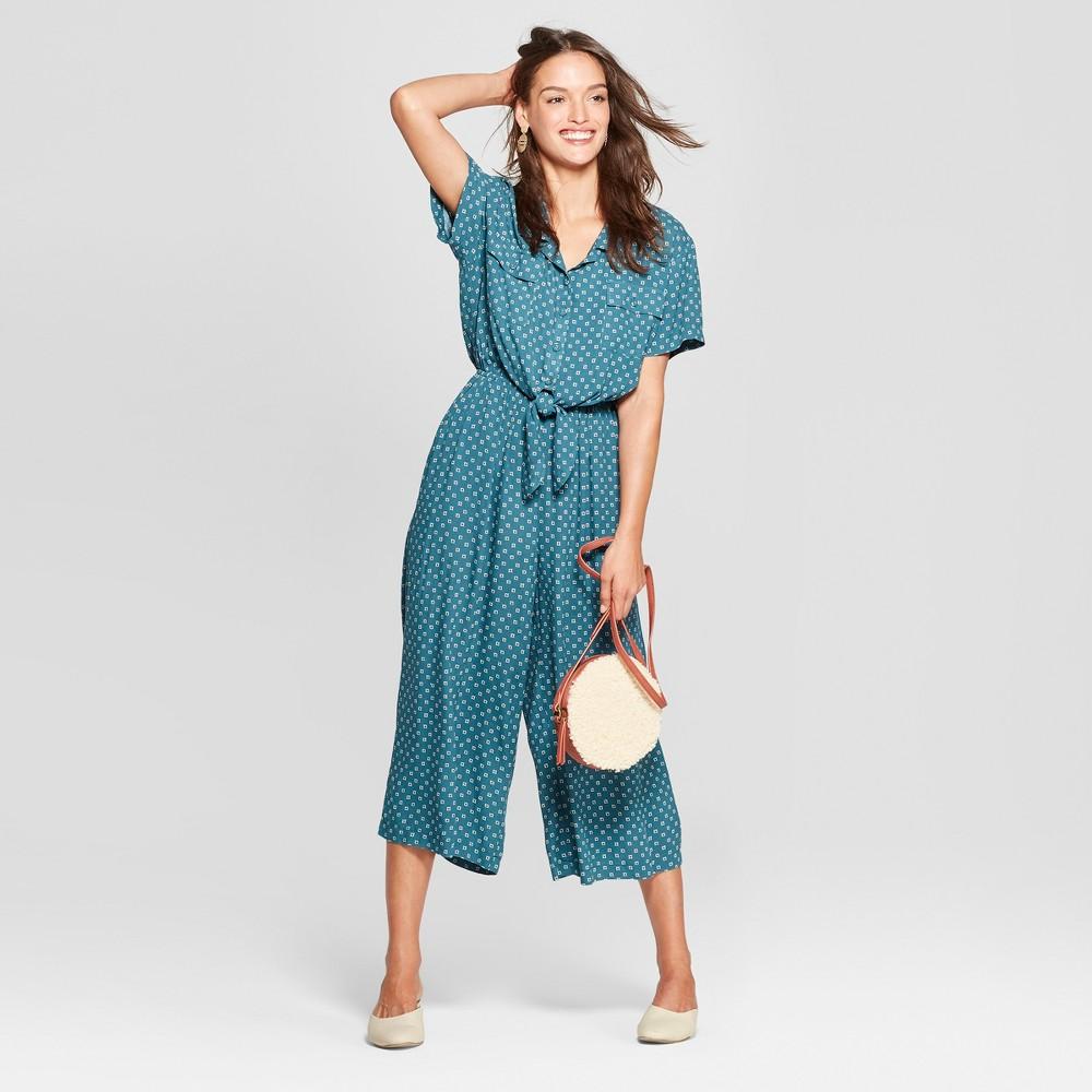 Women's Tie Front Jumpsuit - Universal Thread Green Print XL