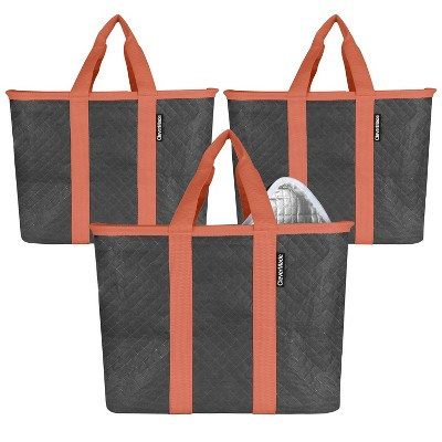 CleverMade SnapBasket Insulated Grocery Shopping Bag Tote with Zippered Lid Charcoal/Coral - 3pk