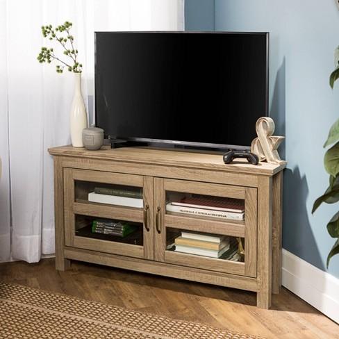 44 Wood Corner Tv Media Stand Storage Console Driftwood Saracina Home