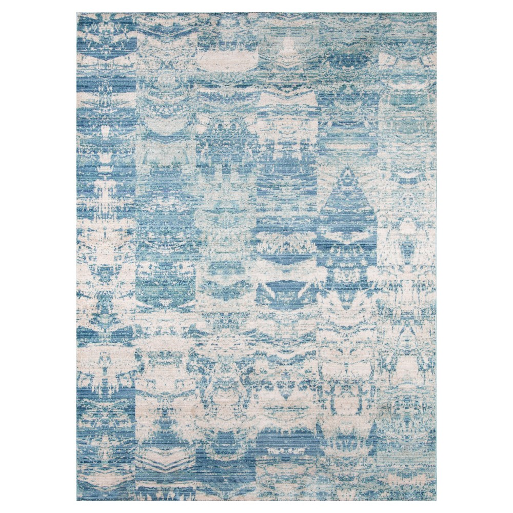 Blue Shapes Loomed Accent Rug 3'3