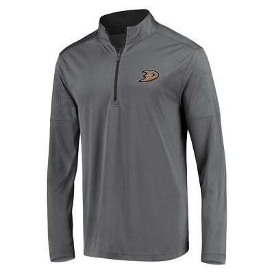 NHL Anaheim Ducks Men's Defender Embossed 1/4 Zip Sweatshirt - Gray L