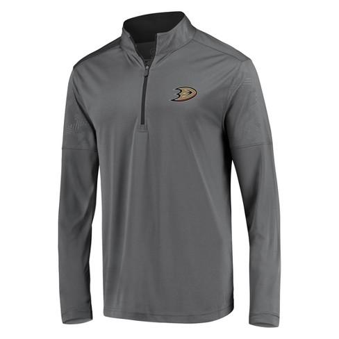 NHL Anaheim Ducks Men's Defender Embossed 1/4 Zip Hoodie - Gray - image 1 of 3