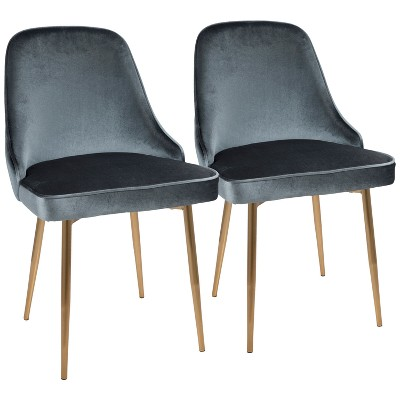 Set Of 2 Marcl Contemporary Dining Chair Gold/Blue   LumiSource : Target