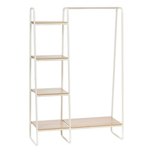 199e50724c1 IRIS Metal Garment Rack With Wood Shelves - White   Target