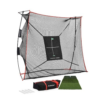 Rukket Sports Outdoor Portable 9 x 7 x 3 Foot Haack Golf Training Practice Net Pro Set with Hitting Target, Tri Turf Mat, and Carrying Bag