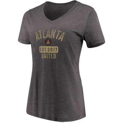 MLS Atlanta United FC Women's Short Sleeve V-Neck Gray T-Shirt