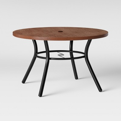Southport 4-Person Wood-Textured Metal Top Round Patio Dining Table Brown/Black - Opalhouse™
