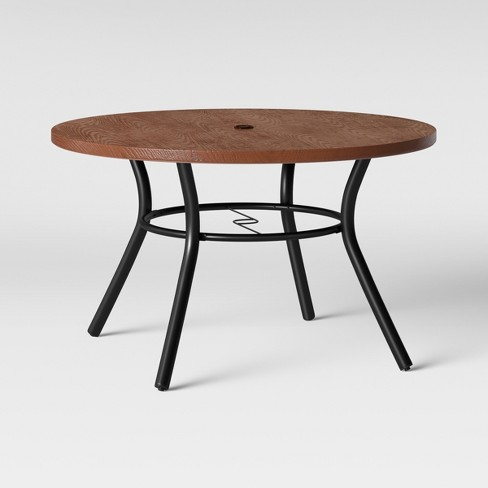 Southport Wood-Textured Metal Top Patio Dining Table Brown/Black - Opalhouse™ - image 1 of 3