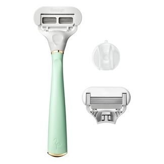 Flamingo Womens 5-blade Razor with Replacement Blade Cartridge - Mint