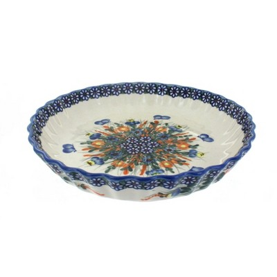 Blue Rose Polish Pottery Spring Butterfly Pie Plate