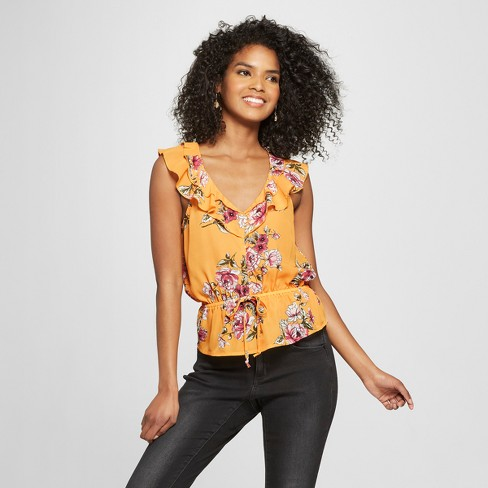Women's Floral Print Peplum Ruffle Top - ALMOST FAMOUS (Juniors') Mustard - image 1 of 2