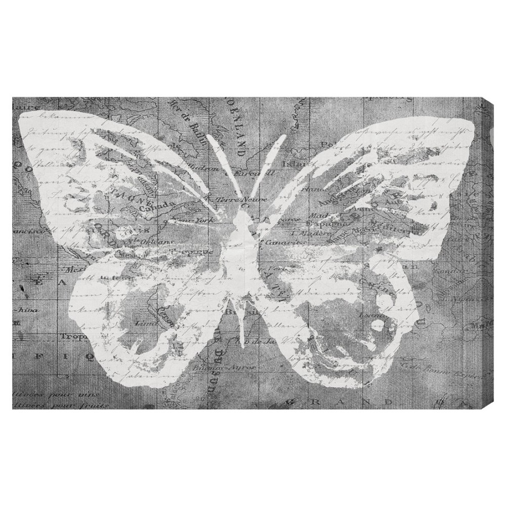 "Image of ""Oliver Gal Unframed Wall """"Traveling Wings"""" Canvas Art (24x16), Gray White"""