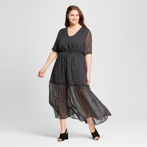 Womens Plus Size Tiered Maxi Dress Who What Wear Black Polka Dot
