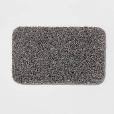 """23""""x37"""" Perfectly Soft Nylon Solid Bath Rug Dark Gray - Opalhouse™"""