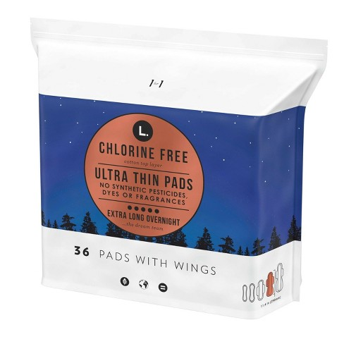 L. Chlorine Free Ultra Thin Overnight Pads with Wings - image 1 of 4