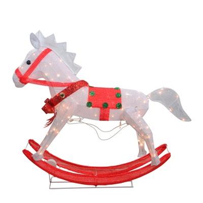 "Northlight 36"" White and Red Light Glistening Rocking Horse Christmas Yard Art Decor"