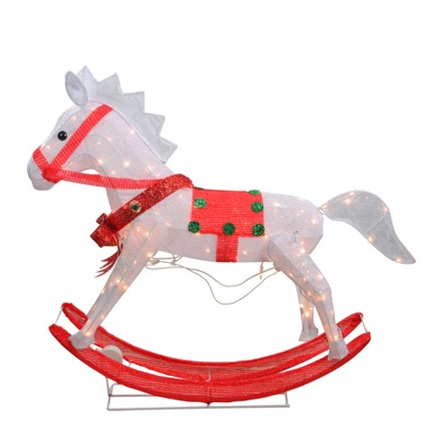 Northlight 36 Lighted And Animated Glistening Rocking Horse Christmas Yard Art Decoration