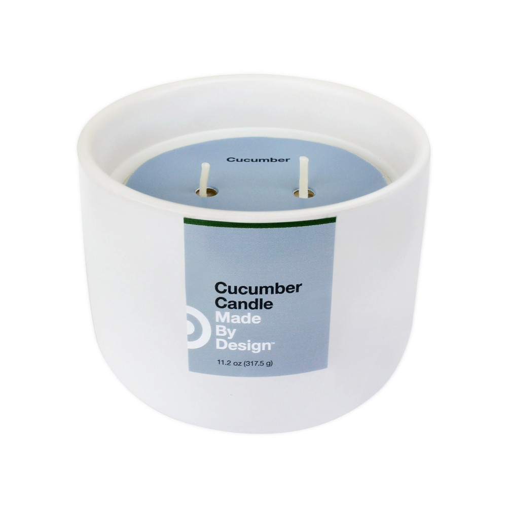 Image of 11.2oz Ceramic 2-Wick Candle Cucumber - Made By Design , White