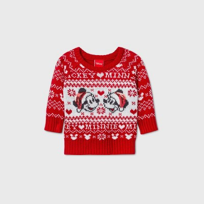 Baby Mickey and Minnie Mouse Pullover Ugly Christmas Sweater - Red 12M
