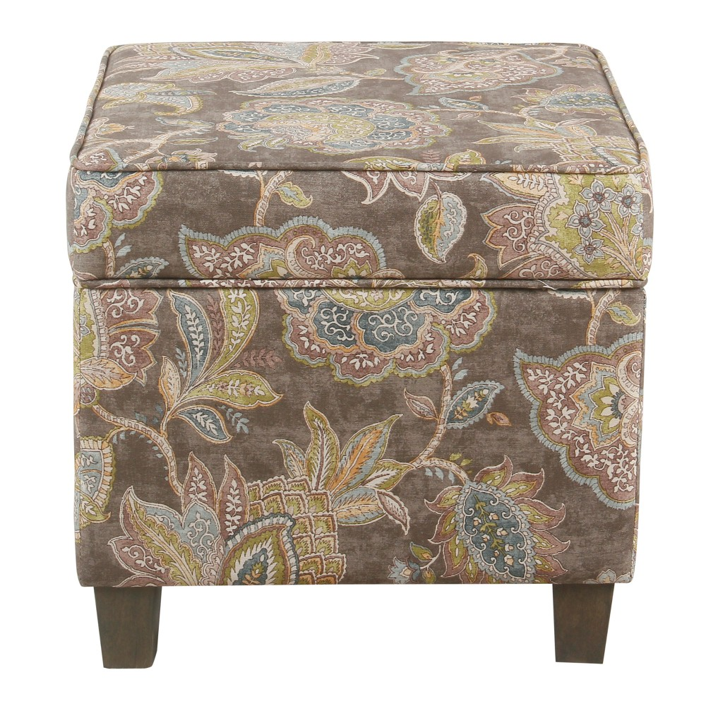 Square Ottoman with Lift Off Top Gray Floral - Homepop was $84.99 now $63.74 (25.0% off)