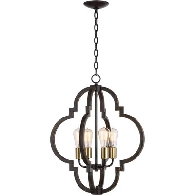 """Barnes and Ivy Wood Grain Pendant Chandelier 20"""" Wide Moroccan Frame LED Edison 4-Light Fixture Dining Room House Foyer Kitchen"""