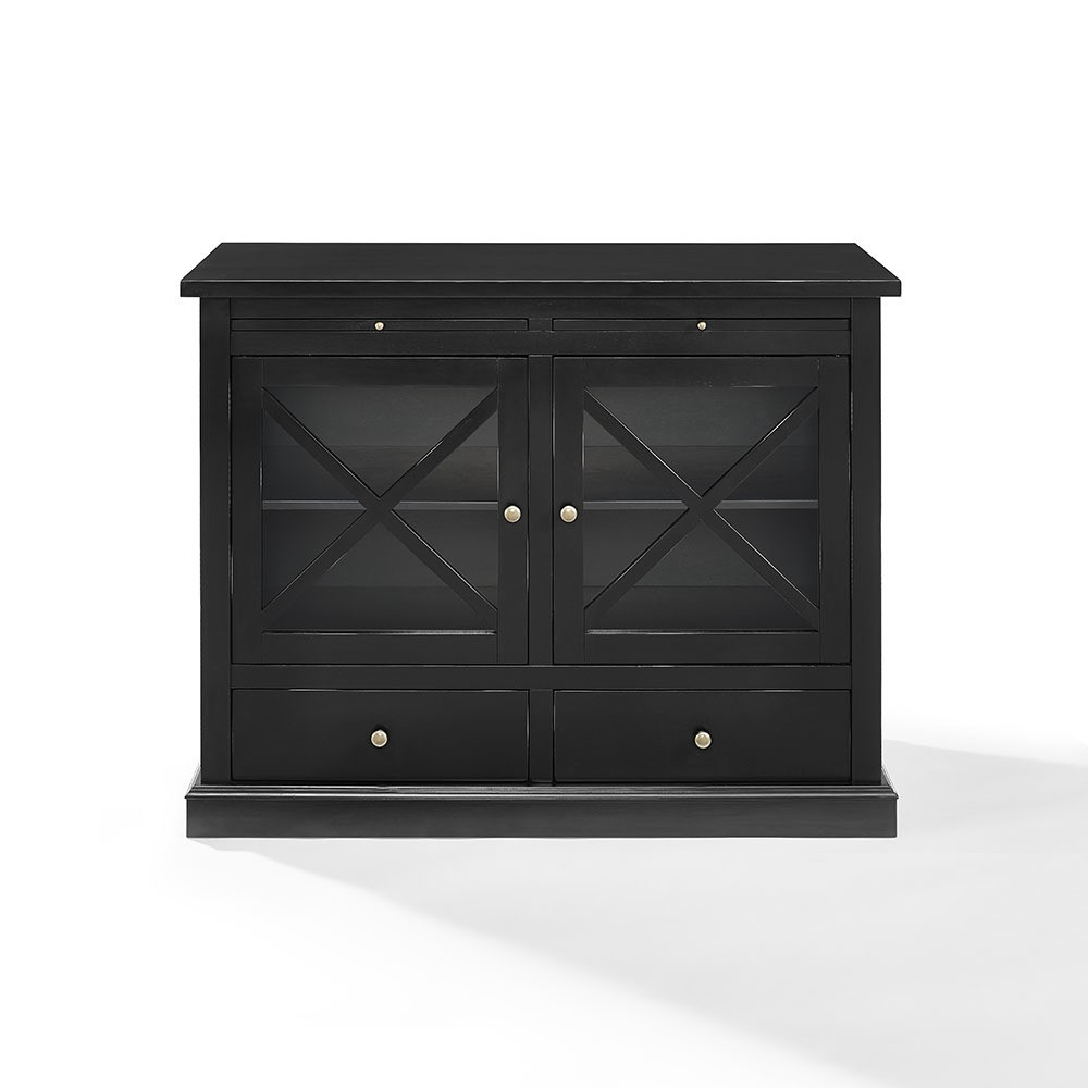 Crosley Furniture CF6121-BK Jackson Accent Cabinet with Glass Doors, Black