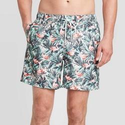 "Men's 7"" Tropical Flamingos Swim Trunks - Goodfellow & Co™ Green"