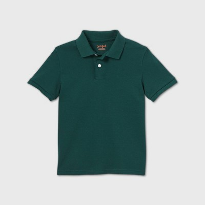 Boys' Short Sleeve Interlock Uniform Polo Shirt - Cat & Jack™ Dark Green