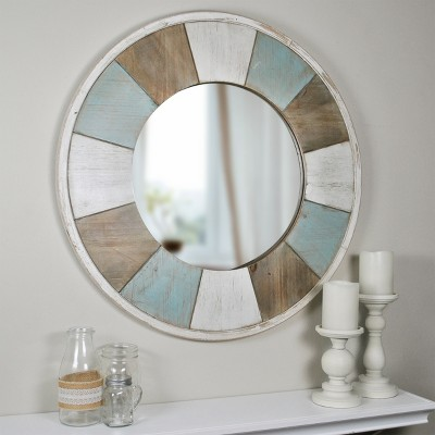 """27"""" x 0.5"""" x 27"""" Farmhouse Cottage Timbers Mirror Aged Teal - FirsTime & Co."""