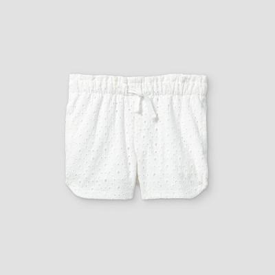Toddler Girls' Eyelet Woven Pull-On Shorts - Cat & Jack™ White 18M
