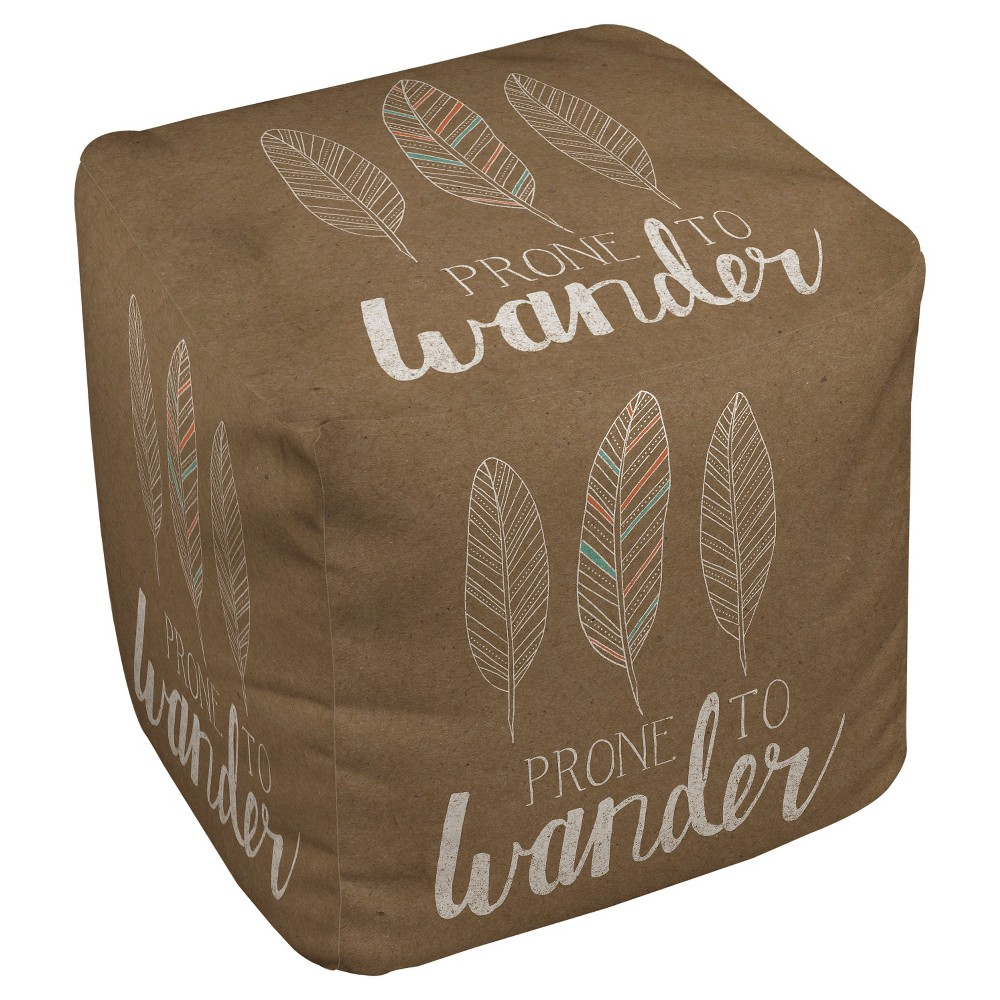 "Image of ""18""""x18"""" Prone To Wander Pouf Brown - Thumbprintz"""