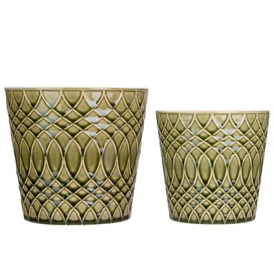 """Napa Home & Garden Set of 2 Green Geometric Patterned Planters 6.5"""""""